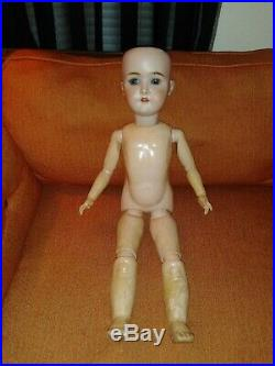 Antique Gans & Seyfarth German Bisque Head Doll 23 Tall Wood Compo Jointed Body