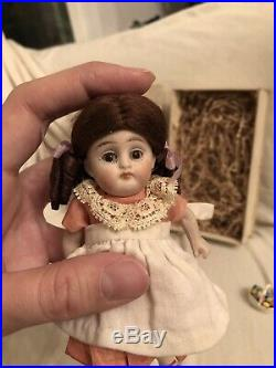 Antique German 5.25 All Bisque Kestner 158 Doll Easter Chick Box & Accessories