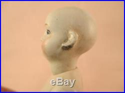 Antique German All Bisque Swivel Head Bare Feet Glass Eyes Solid Dome Doll 5