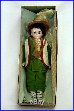 Antique German All Original Closed Mouth Bisque Doll with box c1900