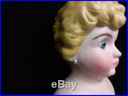 Antique German Bisque Doll with Molded Hair and Glass Eyes