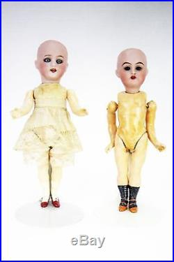 Antique German Bisque Dolls with Traveling Wardrobe Container ca1900