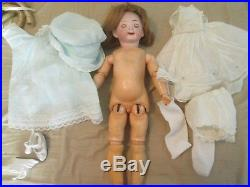 Antique German Bisque Flirty Blue Eyed 14 Inch Doll Wood Composite Jointed Body