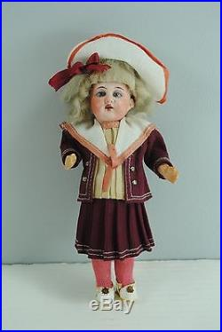Antique German Bisque Head Doll Girl Candy Container All Original Clothes