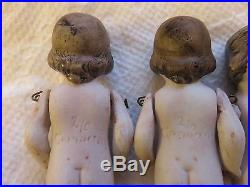 Antique German Dionne Quintuplet Bisque/Porcelain Children Dolls Set 3-1/4 D6