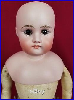 Antique German Doll Closed Mouth Pale Bisque Shoulder Head Mold 6 Sleep Eyes 17