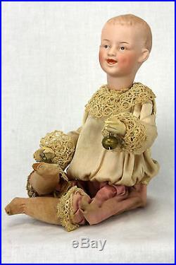 Antique German Heubach Bisque Mechanical Musical Squeeze Doll c1910