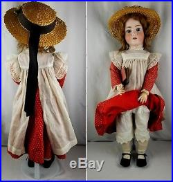 Antique German Large Bisque Head Doll Walkure Comp Jointed Body 32 inch 6 80