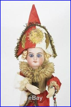 Antique German Mechanical Moving Bisque Head Doll Pull Toy ca1910