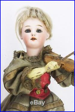 Antique German Musical Mechanical Moving Bisque Dolls ca1910