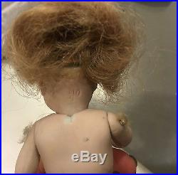 Antique German all bisque doll swivel neck 4 strap boots sleep eyes S & H
