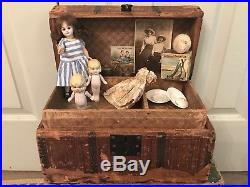 Antique German bisque head unusual body + doll trunk Steiff mouse toys dresses