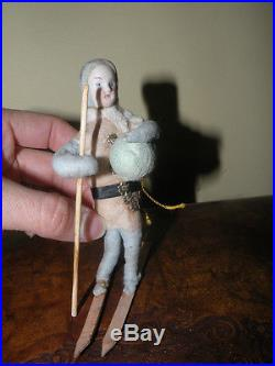 Antique Heubach Christmas Ornament Doll Girl Skiing Cotton Bisque W Snowball