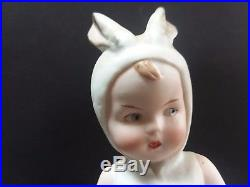 Antique Heubach Easter Bunny Girl Candy Container All Bisque Character Doll Old
