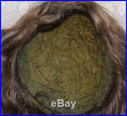 Antique Human Hair Doll Wig Hand Tied Brown for French German Bisque 15-17.5