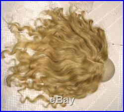 Antique Human Hair Doll Wig & Pate Golden Blonde for French German Bisque 12-13