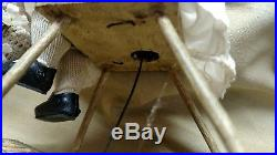 Antique Key Wind Automaton Mechanical Bisque Girl Doll in Old Rocking chair