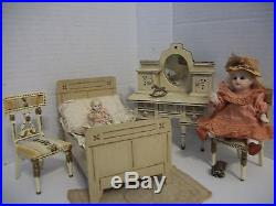 Antique Litho Hump Back Doll Trunk With German Bisque Doll & Wooden Bedroom! CUTE