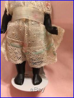 Antique Mignonette Doll. 5 1/2 All Bisque Bare Feet. Black