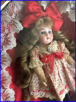 Antique Mini Bisque 7 Heubach 250-17/0 German Doll In Old Shadowbox Frame