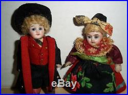 Antique Miniature Bisque Jointed Dolls Boy & Girl German or Swiss Late 1800's
