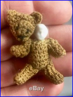 Antique Miniature Hertwig Bisque Doll Brown Bear Crocheted c1910 Dollhouse 1