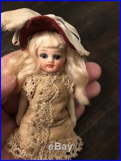 Antique Rare 4.5 French All Bisque Mignonette Doll With Original Clothes