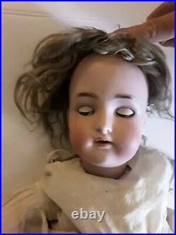 Antique Simon and halbig german bisque doll with mohair, sleeping eyes