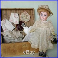 Antique bisque doll Kestner with BOX Mignonette Head mark K 18 Blue fixed eyes