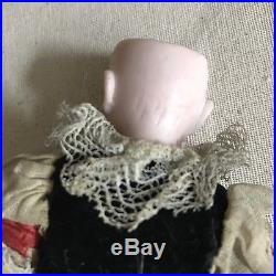 Antique bisque head Blonde Mohair WithBraids doll compo body 7 tall #447 Mystery