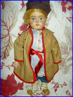 Antique bisque sockethead, Russian male doll c. 1910-20s with great orig. Costume