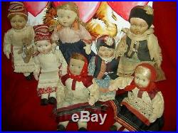Antique c1920s bisque sockethead Russian boy dolls in wonderful orig. Costumes
