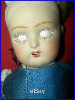 Antique circa 1918-20s bisque sockethead Russian doll in wonderful orig. Costume