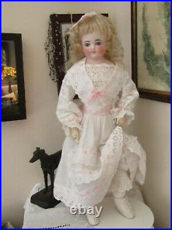 Antique closed mouth Belton style bisque head leather fashion body Mystery doll