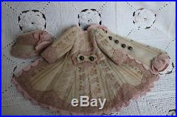 Antique cotton dress and hat for antique baby doll 16-17''