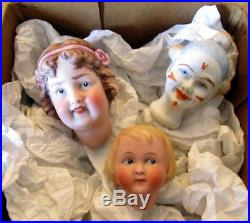 Antique lot of three bisque doll heads -Rivalo, Heubach -Germany