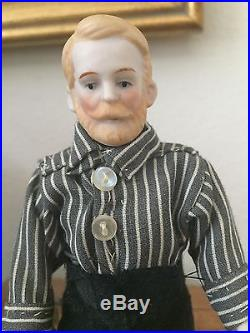 Antique or Vintage ALL Bisque Doll House Dolls Man Doll