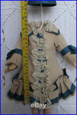 Antique wool dress and hat for antique baby doll 16-17''