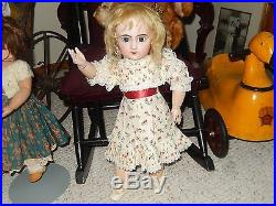 BEAUTIFUL ANTIQUE TETE JUMEAU BISQUE HEAD #8 DOLL withANTIQUE WIG AND SHOES