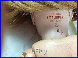 Beautiful Antique Closed Mouth Tete Jumeau Bisque Head French Doll