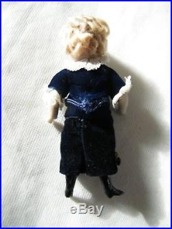 Beautiful French/French Market Mignonette All Bisque Antique Doll 4.5 Inch