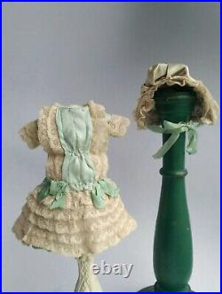 Beautiful silk Bebe doll dress and hat, German/French antique doll