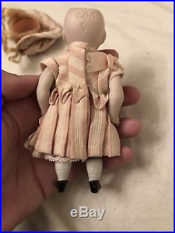 Beautifully Dressed Kestner 600 All Bisque Chubby Antique Doll Mignonette Size
