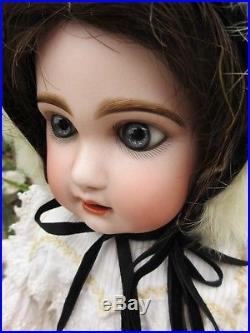 Bebe Jumeau size 8. 19 in. 48 cm. Antique french bisque head doll. Orig shoes
