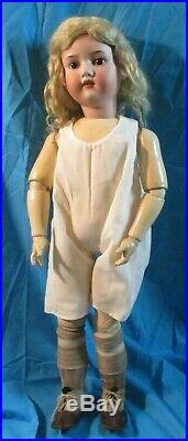 Big & Beautiful Antique German Bisque Head Doll, AM390 & her Baby Doll