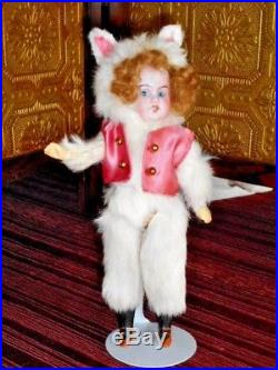 Bisque Head Bunny Rabbit Dressed In Silk Vest! Sweet Antique Character Doll! Nr