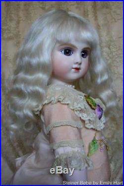 C-Series Bourgoin Steiner Bebe Bisque doll dressed in pure silks & Antique laces