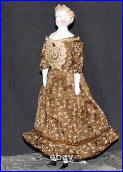DARLING ANTIQUE PARIAN DOLL IN BROWN PRINT DRESS by C. F. KLING & CO