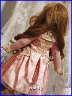 EXQUISITE Antique Bebe Jumeau French Bisque Doll Silk Pink Dress Lace FREE SHIP