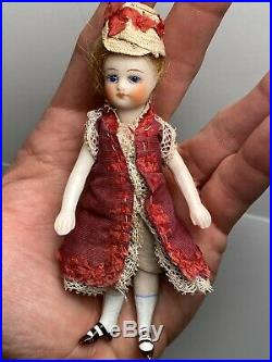 Early Antique 4 3/4 French Mignonette All Bisque Doll Peg Jointed Original NM+
